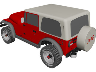 Jeep Wrangler Montata (1988) CAD 3D Model