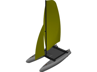 Small Catamaran CAD 3D Model