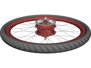 Rear Wheel with CVT Hub 3D Model