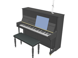 Piano 18th century 3D Model 3D Preview