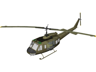 UH-1H Marines (Vietnam) 3D Model