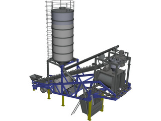 Mobile Concrete Batching Plant Mixer CAD 3D Model