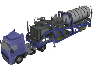 Mobile Concrete Batching Plant Mixer Unit Mobile CAD 3D Model