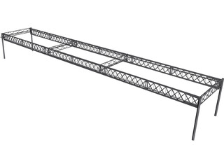 Truss Girder Bridge CAD 3D Model