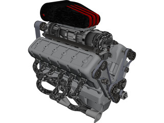 Engine V12 CAD 3D Model