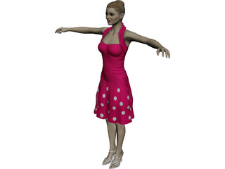Summergirl in Strawberry Dress 3D Model
