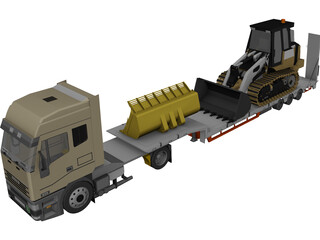 Iveco Tractor with Excavator on Flat Bed 3D Model