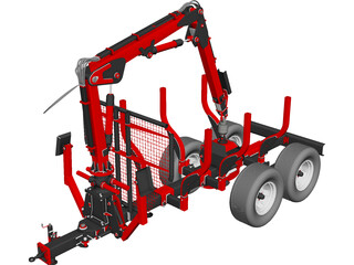 Truck Forest Trailer CAD 3D Model