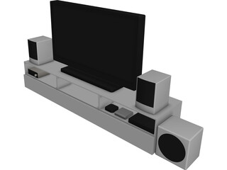 TV Rack with TV and Stereo CAD 3D Model