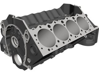 Small Block Chevrolet Engine Block CAD 3D Model