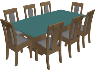 Dining Table and Chairs 3D Model