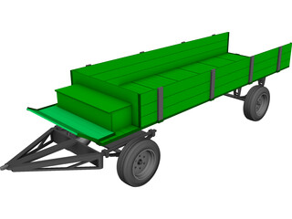 Farm Wagon 3D Model