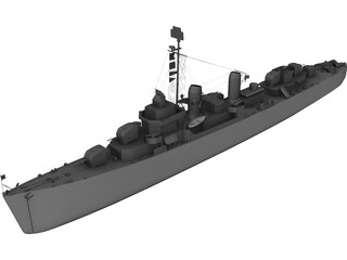 USS Kidd Destroyer 3D Model