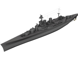 Hood Battlecruiser 3D Model 3D Preview