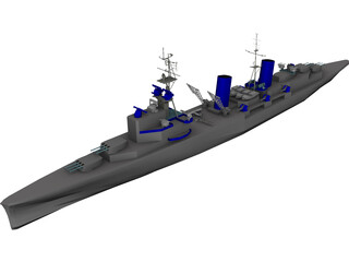 Belfast Light Cruiser 3D Model