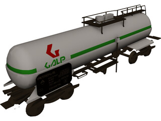 Oil Tank Train Car 3D Model