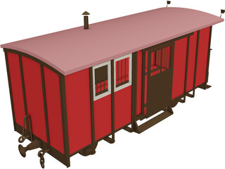 Train Car Box 3D Model