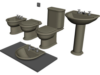 Bathroom Furniture Set 3D Model