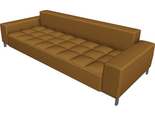 Couch Leather Pillow 3D Model