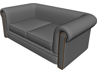 Couch Chesterfield Leather 3D Model