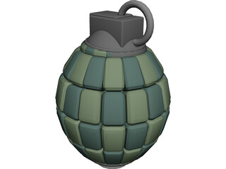 80 Articulated Segments Hand Grenade 3D Model