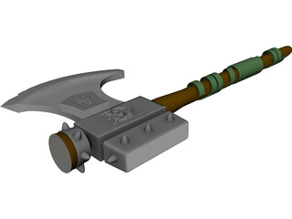 Medieval Battle Axe Handle 3D Model