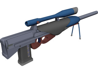 Sniper Rifle Shooting with Bullets 3D Model