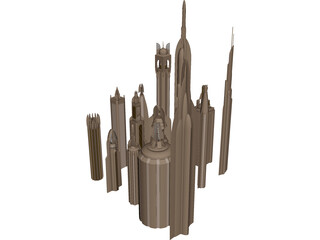 Futuristic Skyscraper Collection 3D Model 3D Preview