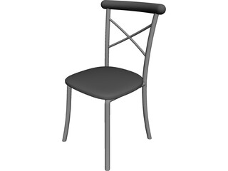 Metal Kitchen Chair with Padded Back 3D Model
