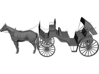 Old Style Horse Carriage 3D Model
