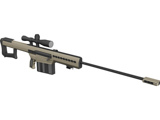 M107A1 Barret Rifle CAD 3D Model