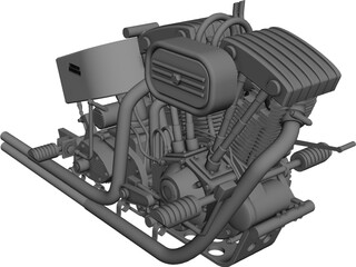 Harley Engine 3D Model