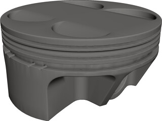 Piston Head CAD 3D Model