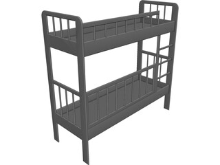 Two-Level Children Bed CAD 3D Model