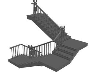 Stair with 3 Flights and 3 Landings 3D Model