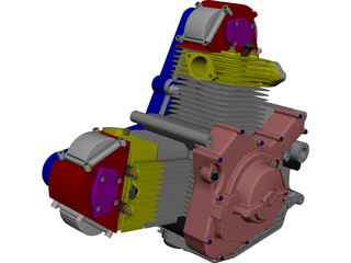 Ducati 900cc Air Cooled Engine CAD 3D Model