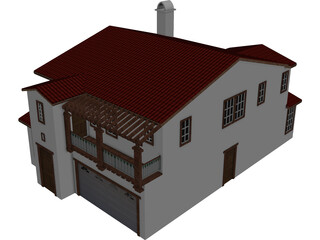 Spanish Style House 2 Story 3D Model
