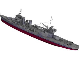 USS Vincennes Military Cruiser 3D Model