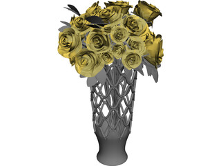 Vase with Roses 3D Model