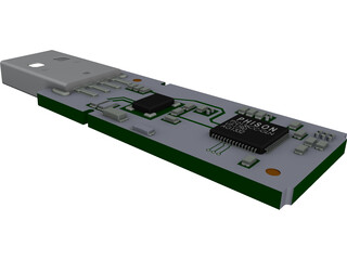 USB Memory Stick Internal Parts CAD 3D Model