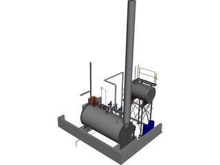 Boiler House Layout CAD 3D Model