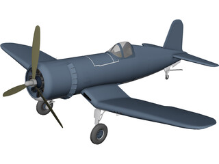 F4 Corsair Airplane 3D Model