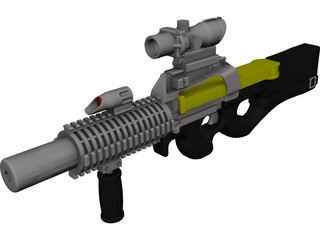 P-90 Machine Gun [NURBS] 3D Model