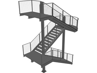 Fire Escape Stair CAD 3D Model