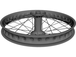 BMX Spoked Wheel CAD 3D Model