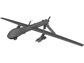 General Atomics MQ-1 Predator UAV Drone CAD 3D Model