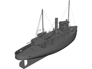Ferry Ship (1900) CAD 3D Model
