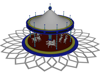 Amusement Park Carousel 3D Model