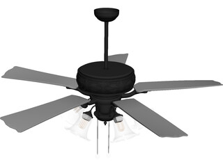 Ceiling Fan with Lamp 3D Model