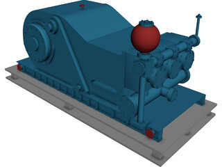 Oil Rig Mud Pump 3D Model